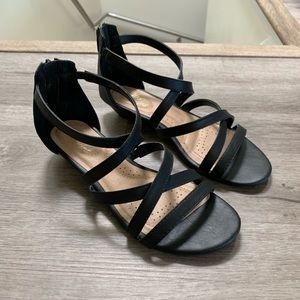 Valerie Black Strappy Wedge Sandals Wide Payless